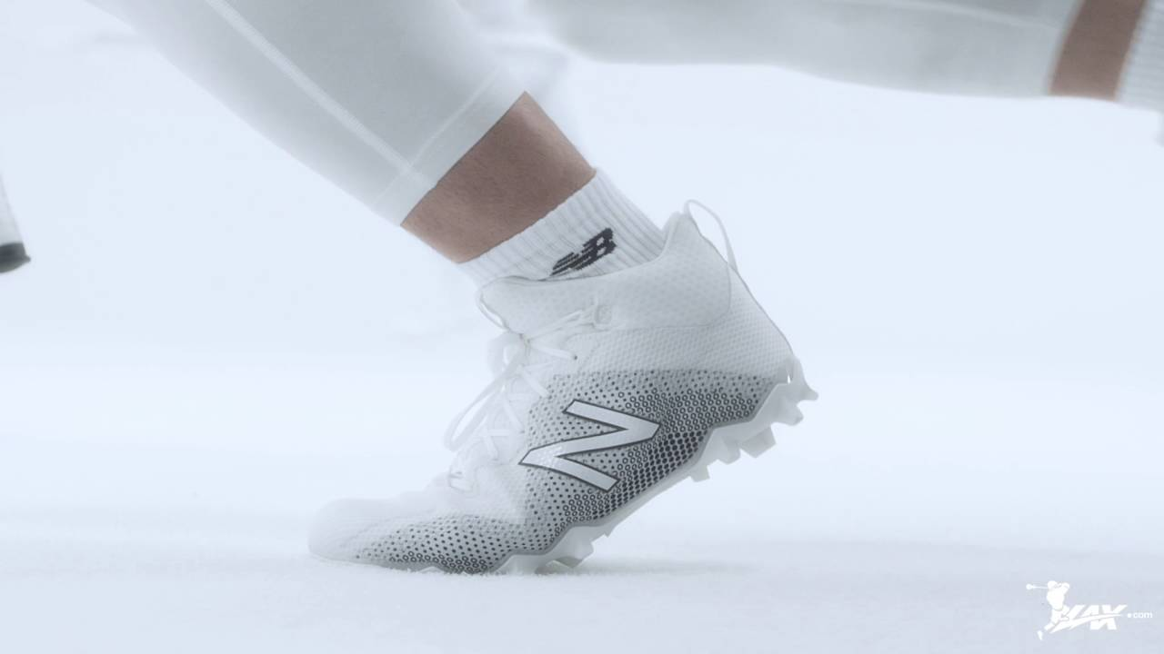 New Balance Mens Burn X2 Mid-Cut Lacrosse Shoe 11.5 2E US WHITE//RED