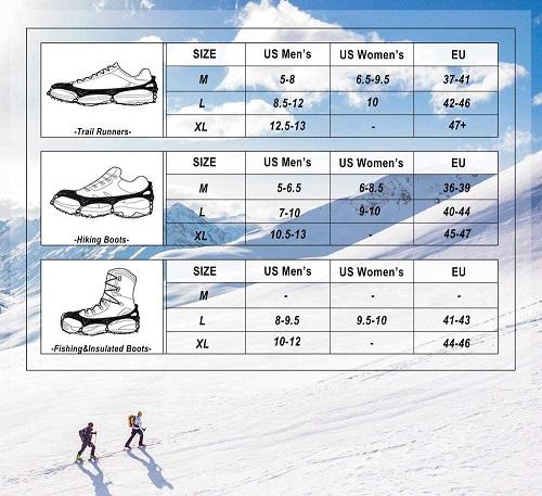Cimkiz Ice Cleats Size Chart
